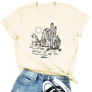 Western Sunset Off-White Retro Graphic T-Shirt